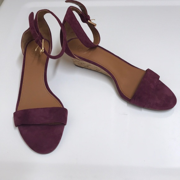 Tory Burch burgundy suede wedges with ankle straps